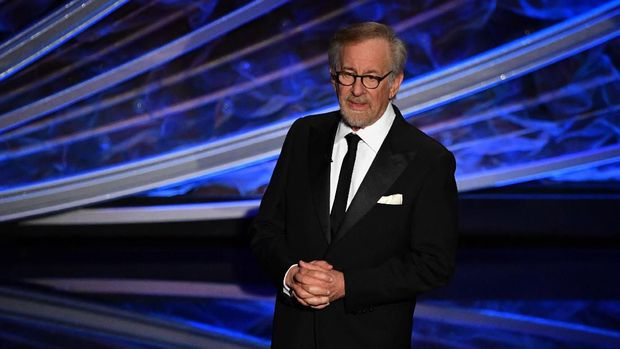 US director Steven Spielberg speaks onstage during the 92nd Oscars at the Dolby Theatre in Hollywood, California on February 9, 2020. (Photo by Mark RALSTON / AFP)
