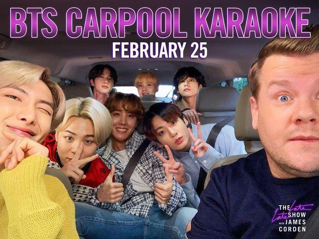 Cuplikan Carpool Karaoke BTS bareng James Corden Dirilis!