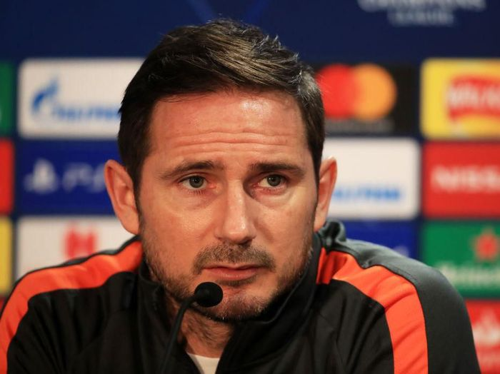 LONDON, ENGLAND - FEBRUARY 24: Frank Lampard, Manager of Chelsea speaks to the media during a Chelsea FC Press Conference ahead of their Champions League round of 16 match against FC Bayern Munich at Stamford Bridge on February 24, 2020 in London, England. (Photo by Andrew Redington/Getty Images)