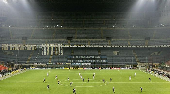 MILAN, ITALY - SEPTEMBER 28: A general view of the empty stands during the UEFA Champions League Group H match between Internazionale and Glasgow Rangers on September 28, 2005 at the San Siro in Milan, Italy.  (Photo by Laurence Griffiths/Getty Images)