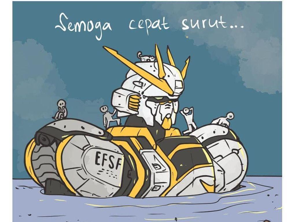 Gundam Kena Imbas Banjir Jakarta