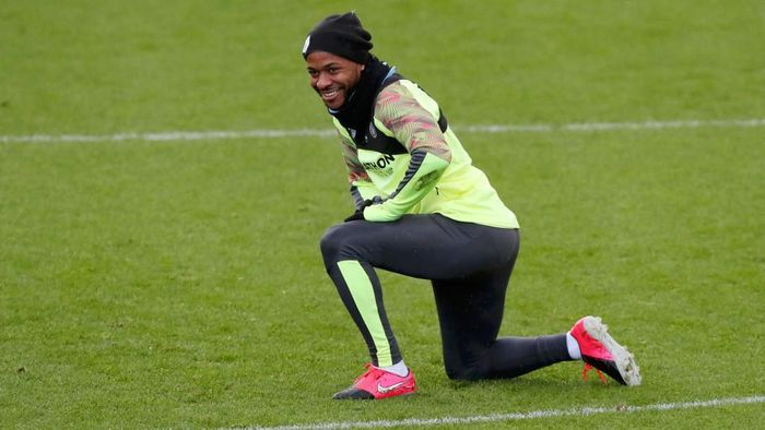 MANCHESTER, ENGLAND - FEBRUARY 25: Raheem Sterling of Manchester City looks on during a training session ahead of their UEFA Champions League round of 16 first leg match against Real Madrid at Manchester City Football Academy on February 25, 2020 in Manchester, United Kingdom. (Photo by Alex Livesey/Getty Images)