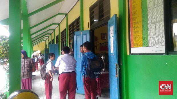 Suasana di Sekolah Dasar Negeri 07 Kebayoran Lama, Jakarta Selatan.