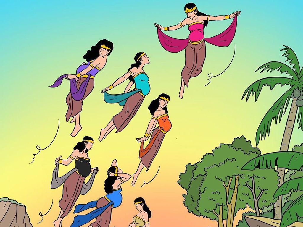 Ilustrasi 7 Bidadari Jaka Tarub Sentil soal Hamil di Kolam