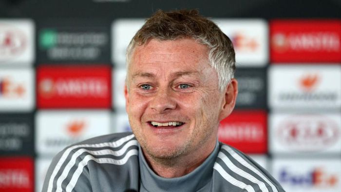MANCHESTER, ENGLAND - FEBRUARY 26: Ole Gunnar Solskjaer, Manager of Manchester United reacts during a press conference ahead of their UEFA Europa League round of 32 second leg match against Club Brugge at Aon Training Complex on February 26, 2020 in Manchester, United Kingdom. (Photo by Jan Kruger/Getty Images)