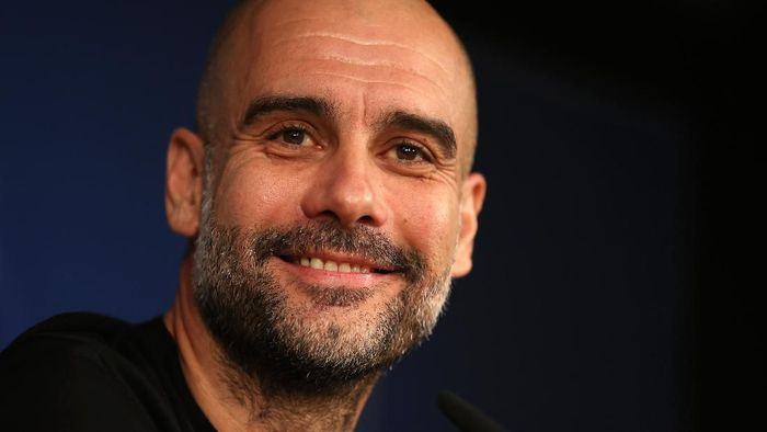 MADRID, SPAIN - FEBRUARY 25: Pep Guardiola, Manager of Manchester City reacts during a press conference ahead of their UEFA Champions League round of 16 first leg match against Real Madrid at Estadio Santiago Bernabeu on February 25, 2020 in Madrid, Spain. (Photo by Angel Martinez/Getty Images)