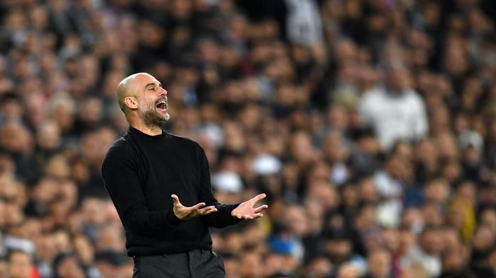 MADRID, SPAIN - FEBRUARY 26: Pep Guardiola, Manager of Manchester City reacts during the UEFA Champions League round of 16 first leg match between Real Madrid and Manchester City at Bernabeu on February 26, 2020 in Madrid, Spain. (Photo by David Ramos/Getty Images)