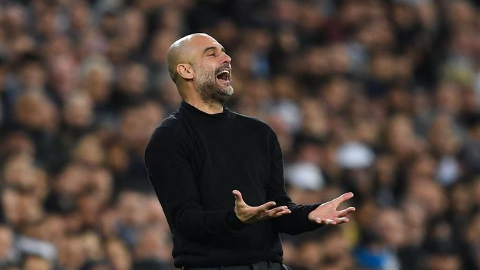 MADRID, SPAIN - FEBRUARY 26: Josep Guardiola, manager of Manchester City FC reacts during the UEFA Champions League round of 16 first leg match between Real Madrid and Manchester City at Bernabeu on February 26, 2020 in Madrid, Spain. (Photo by David Ramos/Getty Images)