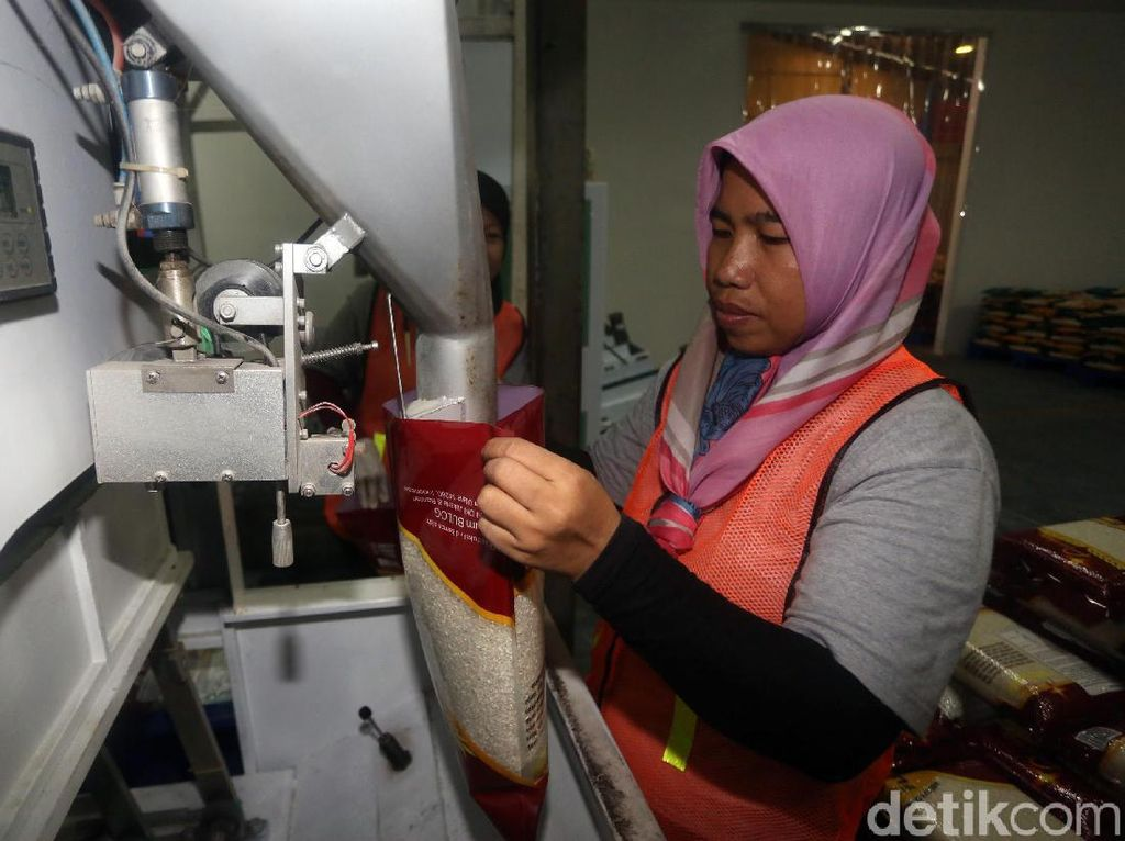 Melihat Proses Pengemasan Beras Bulog di Utara Jakarta