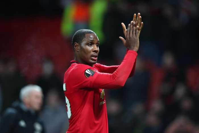 MANCHESTER, ENGLAND - FEBRUARY 27: Odion Ighalo of Manchester United applaud fans following his sides victory in the UEFA Europa League round of 32 second leg match between Manchester United and Club Brugge at Old Trafford on February 27, 2020 in Manchester, United Kingdom. (Photo by Clive Brunskill/Getty Images)