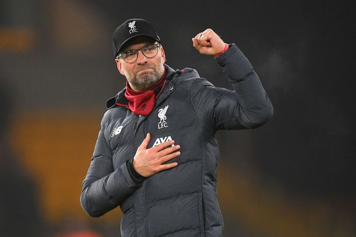 WOLVERHAMPTON, ENGLAND - JANUARY 23: Liverpool manager Jurgen Klopp celebrates after the Premier League match between Wolverhampton Wanderers and Liverpool FC at Molineux on January 23, 2020 in Wolverhampton, United Kingdom. (Photo by Michael Regan/Getty Images)