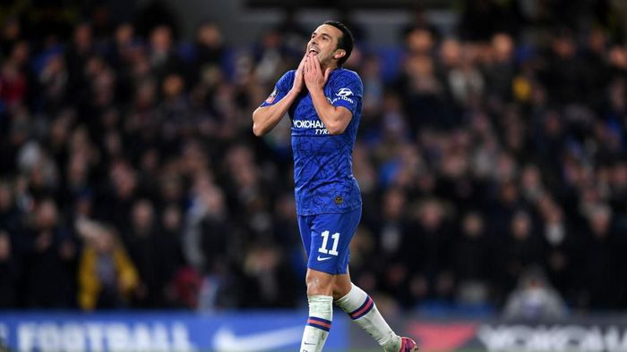 LONDON, ENGLAND - MARCH 03: Pedro of Chelsea reacts during the FA Cup Fifth Round match between Chelsea FC and Liverpool FC at Stamford Bridge on March 03, 2020 in London, England. (Photo by Shaun Botterill/Getty Images)