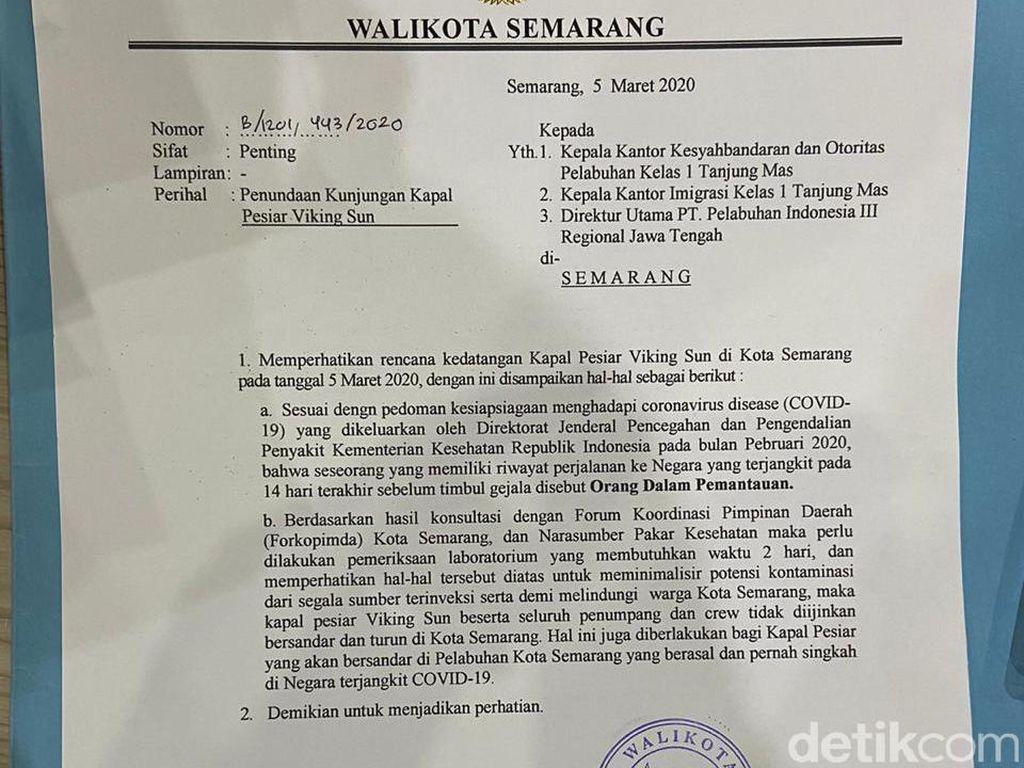 Ini Alasan Walkot Tolak Kapal Pesiar Viking Sun Berlabuh di Semarang