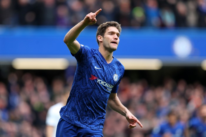LONDON, ENGLAND - FEBRUARY 22: Marcos Alonso of Chelsea celebrates after scoring his teams second goal during the Premier League match between Chelsea FC and Tottenham Hotspur at Stamford Bridge on February 22, 2020 in London, United Kingdom. (Photo by Catherine Ivill/Getty Images)