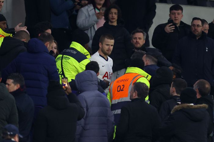LONDON, ENGLAND - MARCH 04: Eric Dier of Tottenham Hotspur is seen speaking to Tottenham Hotspur fans in the stands following his teams defeat in the FA Cup Fifth Round match between Tottenham Hotspur and Norwich City at Tottenham Hotspur Stadium on March 04, 2020 in London, England. (Photo by Julian Finney/Getty Images)