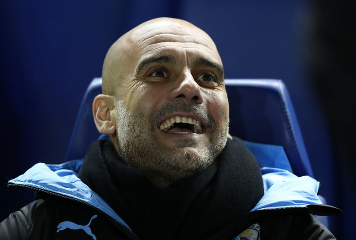 SHEFFIELD, ENGLAND - MARCH 04: Pep Guardiola, Manager of Manchester City reacts prior to the FA Cup Fifth Round match between Sheffield Wednesday and Manchester City at Hillsborough on March 04, 2020 in Sheffield, England. (Photo by Alex Livesey/Getty Images)
