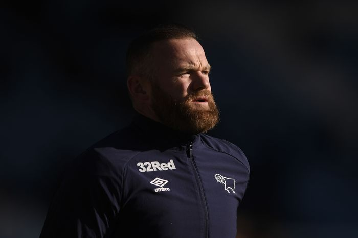 SHEFFIELD, ENGLAND - FEBRUARY 29: Wayne Rooney of Derby County looks on during the warm up ahead of the Sky Bet Championship match between Sheffield Wednesday and Derby County at Hillsborough Stadium on February 29, 2020 in Sheffield, England. (Photo by George Wood/Getty Images)