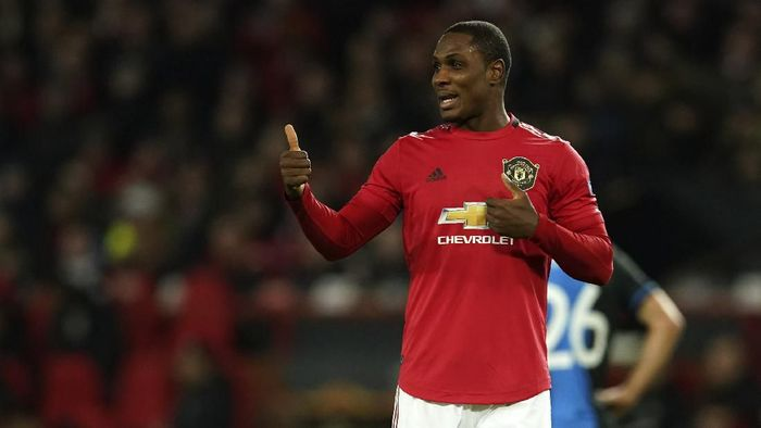 Manchester Uniteds Odion Ighalo gestures during the round of 32 second leg Europa League soccer match between Manchester United and Brugge at Old Trafford in Manchester, England, Thursday, Feb. 27, 2020. (AP Photo/Dave Thompson)