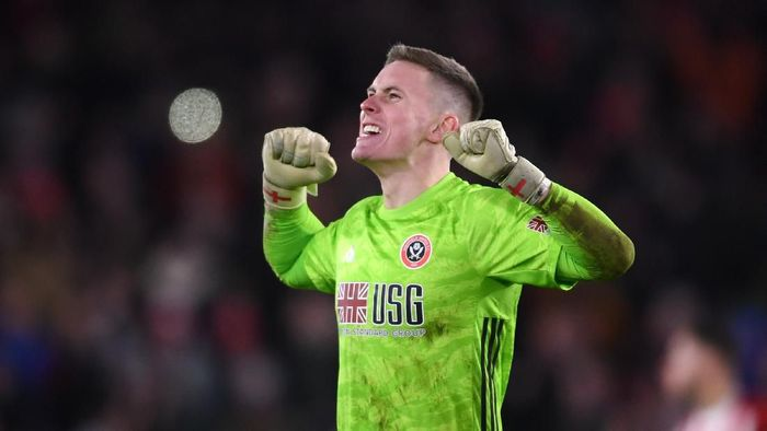 SHEFFIELD, ENGLAND - JANUARY 10: Dean Henderson of Sheffield United celebrates during the Premier League match between Sheffield United and West Ham United at Bramall Lane on January 10, 2020 in Sheffield, United Kingdom. (Photo by Laurence Griffiths/Getty Images)