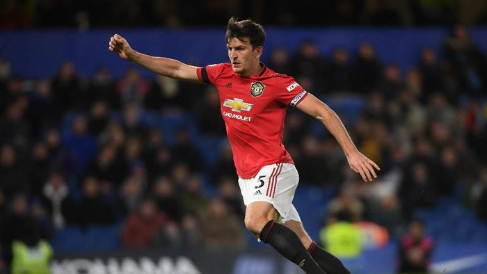LONDON, ENGLAND - FEBRUARY 17: Harry Maguire of Manchester United in action during the Premier League match between Chelsea FC and Manchester United at Stamford Bridge on February 17, 2020 in London, United Kingdom. (Photo by Mike Hewitt/Getty Images)