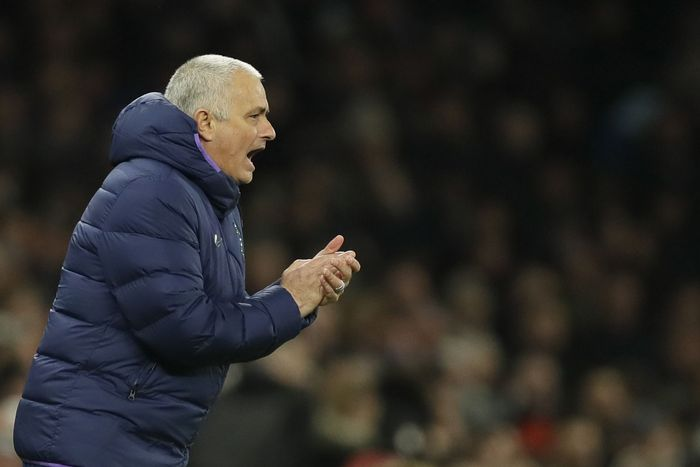 Tottenhams manager Jose Mourinho shouts during the English FA Cup fifth round soccer match between Tottenham Hotspur and Norwich City at Tottenham Hotspur stadium in London Wednesday, March 4, 2020. (AP Photo/Kirsty Wigglesworth)