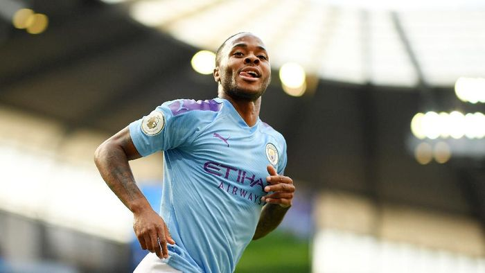 MANCHESTER, ENGLAND - AUGUST 17: Raheem Sterling of Manchester City celebrates after scoring his teams first goal during the Premier League match between Manchester City and Tottenham Hotspur at Etihad Stadium on August 17, 2019 in Manchester, United Kingdom. (Photo by Shaun Botterill/Getty Images)