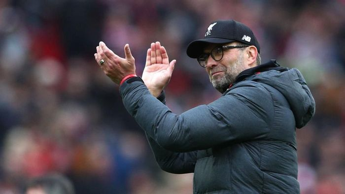 LIVERPOOL, ENGLAND - MARCH 07: Jurgen Klopp, Manager of Liverpool celebrates following his sides victory in the Premier League match between Liverpool FC and AFC Bournemouth  at Anfield on March 07, 2020 in Liverpool, United Kingdom. (Photo by Jan Kruger/Getty Images)