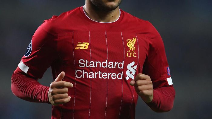 GENK, BELGIUM - OCTOBER 23: Detail view of a Liverpool shirt during the UEFA Champions League group E match between KRC Genk and Liverpool FC at Luminus Arena on October 23, 2019 in Genk, Belgium. (Photo by Catherine Ivill/Getty Images)
