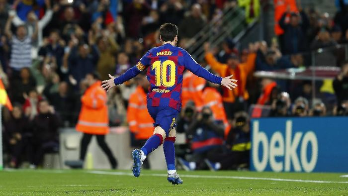 Barcelonas Lionel Messi celebrates after scoring his sides opening goal from the penalty spot during a Spanish La Liga soccer match between Barcelona and Real Sociedad at the Camp Nou stadium in Barcelona, Spain, Saturday, March 7, 2020. (AP Photo/Joan Monfort)