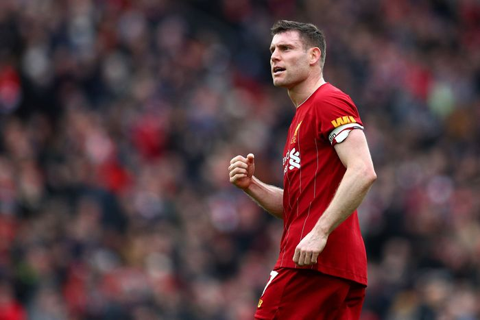 LIVERPOOL, ENGLAND - MARCH 07: James Milner of Liverpool celebrates following his sides victory in the Premier League match between Liverpool FC and AFC Bournemouth  at Anfield on March 07, 2020 in Liverpool, United Kingdom. (Photo by Jan Kruger/Getty Images)