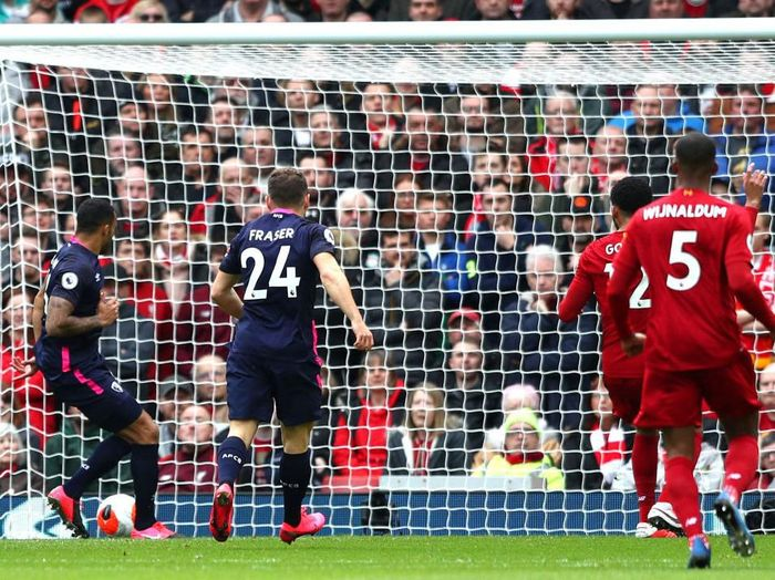 LIVERPOOL, ENGLAND - MARCH 07: Callum Wilson of AFC Bournemouth scores his teams first goal during the Premier League match between Liverpool FC and AFC Bournemouth  at Anfield on March 07, 2020 in Liverpool, United Kingdom. (Photo by Jan Kruger/Getty Images)