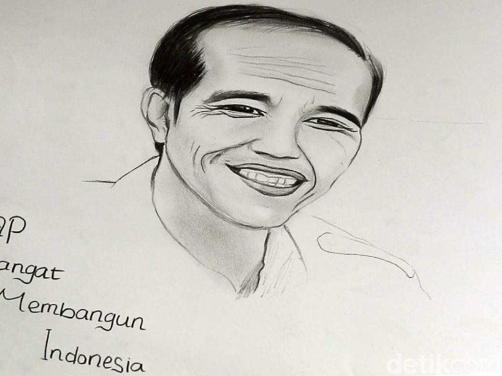 Terselip Pesan Dalam Sketsa Wajah yang Dibuat Febby untuk Jokowi