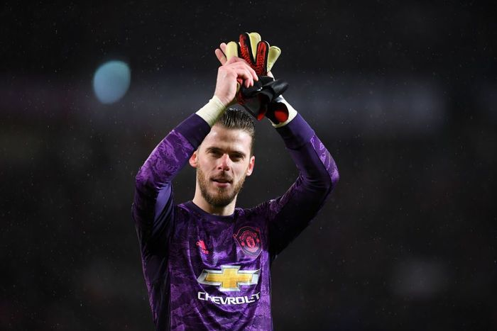 MANCHESTER, ENGLAND - MARCH 08: David De Gea of Manchester United celebrates after the Premier League match between Manchester United and Manchester City at Old Trafford on March 08, 2020 in Manchester, United Kingdom. (Photo by Laurence Griffiths/Getty Images)