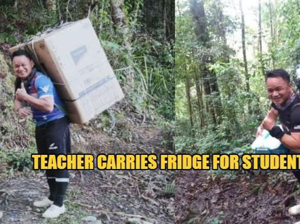 Susuri Hutan dan Sungai, Guru Ini Gendong Kulkas Untuk Muridnya