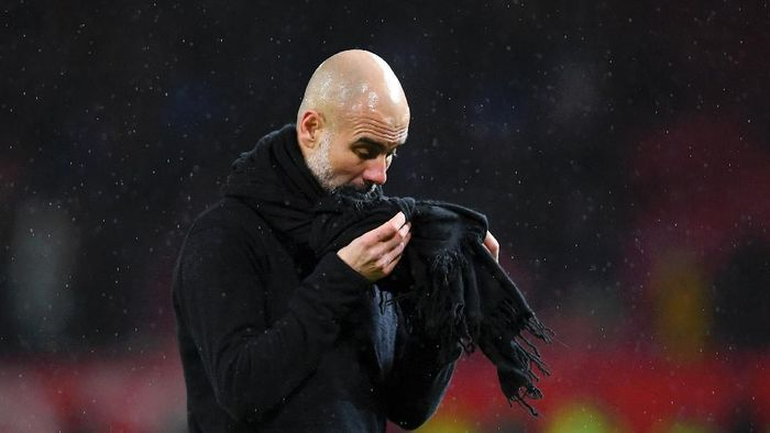 MANCHESTER, ENGLAND - MARCH 08: Pep Guardiola, Manager of Manchester City reacts after the Premier League match between Manchester United and Manchester City at Old Trafford on March 08, 2020 in Manchester, United Kingdom. (Photo by Laurence Griffiths/Getty Images)
