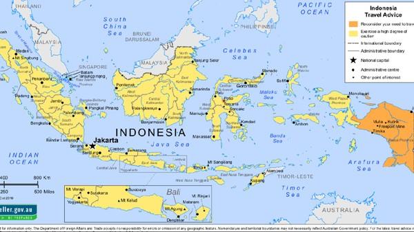 Peta Indonesia dari Australia (Situs Smart Traveller Australia)