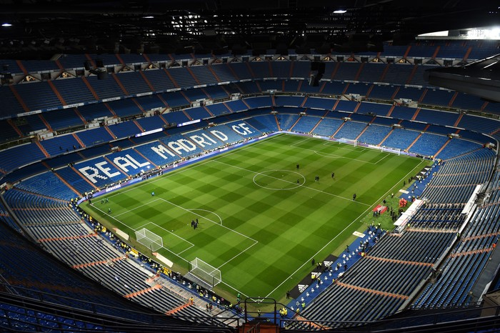 MADRID, SPAIN - FEBRUARY 03:  General view inside the stadium  prior to the La Liga match between Real Madrid CF and Deportivo Alaves at Estadio Santiago Bernabeu on February 03, 2019 in Madrid, Spain. (Photo by Denis Doyle/Getty Images)