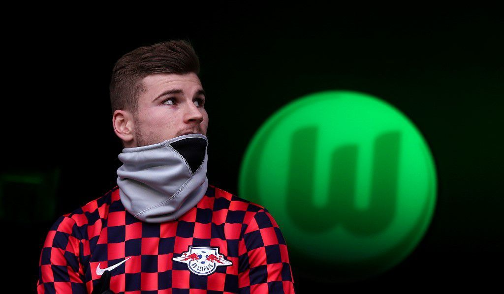 Leipzig's German forward Timo Werner arrives for the German first division Bundesliga football match between VfL Wolfsburg and RB Leipzig in Wolfsburg, northern Germany, on March 7, 2020. (Photo by Ronny Hartmann / AFP) / DFL REGULATIONS PROHIBIT ANY USE OF PHOTOGRAPHS AS IMAGE SEQUENCES AND/OR QUASI-VIDEO