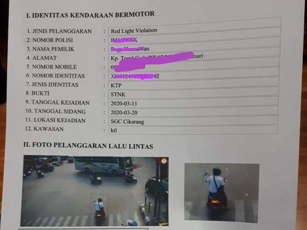 Pemotor Tertangkap Kamera Terobos Lampu Merah, Bayar Denda Rp 500 Ribu