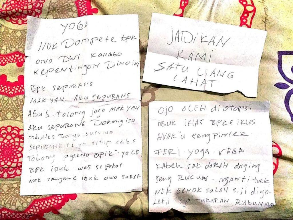 Isi Lengkap Surat Wasiat Pasutri di Malang yang Tewas Bunuh Diri