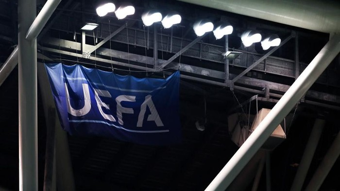 DUBLIN, IRELAND - MARCH 26: General view of UEFA flag during the 2020 UEFA European Championships group D qualifying match between Republic of Ireland and Georgia at Aviva Stadium on March 26, 2019 in Dublin, Ireland. (Photo by Catherine Ivill/Getty Images)