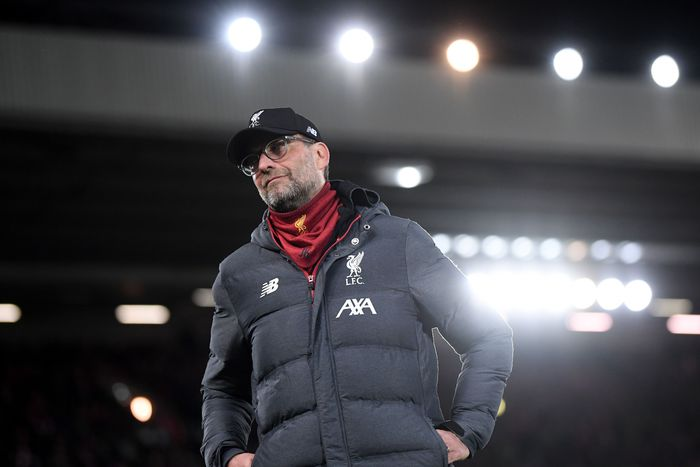 LIVERPOOL, ENGLAND - MARCH 11: Jurgen Klopp, Manager of Liverpool looks on prior to the UEFA Champions League round of 16 second leg match between Liverpool FC and Atletico Madrid at Anfield on March 11, 2020 in Liverpool, United Kingdom.  (Photo by Laurence Griffiths/Getty Images)