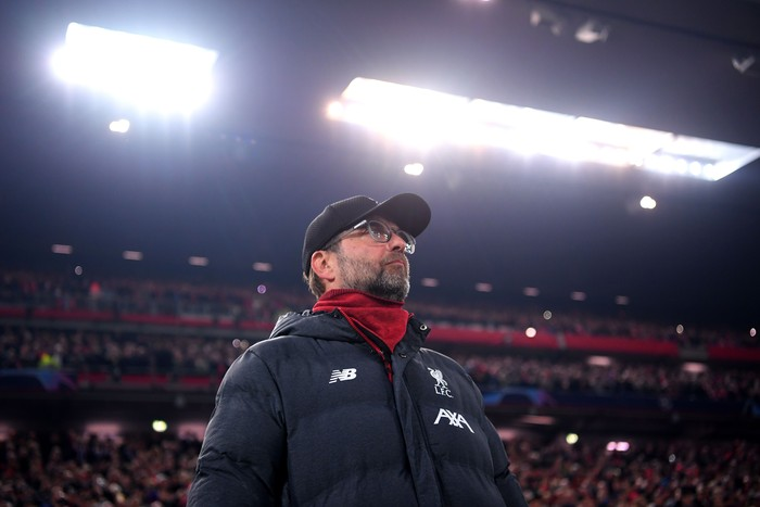 LIVERPOOL, ENGLAND - NOVEMBER 05: Jurgen Klopp, Manager of Liverpool looks on prior to the UEFA Champions League group E match between Liverpool FC and KRC Genk at Anfield on November 05, 2019 in Liverpool, United Kingdom. (Photo by Laurence Griffiths/Getty Images)