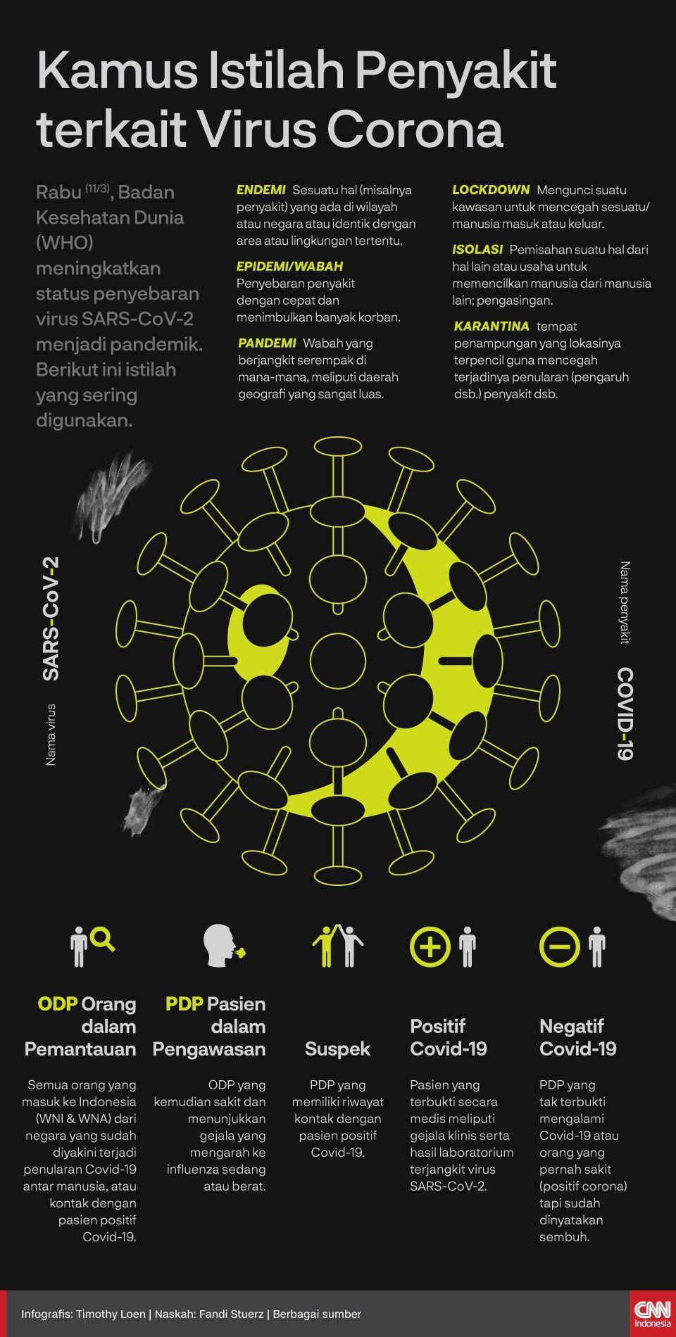 Infografis Kamus Istilah Penyakit terkait Virus Corona