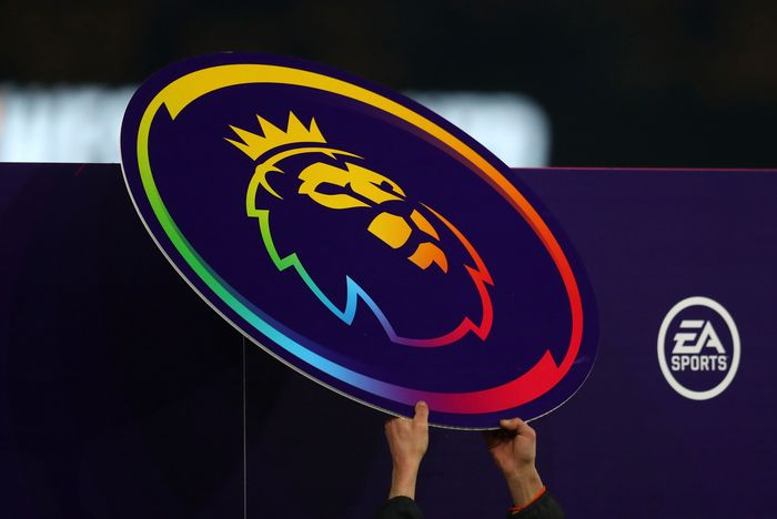 WOLVERHAMPTON, ENGLAND - DECEMBER 04: The Premier League Logo with Stonewall Rainbow Laces Branding is placed on the Handshake Board prior to  the Premier League match between Wolverhampton Wanderers and West Ham United at Molineux on December 04, 2019 in Wolverhampton, United Kingdom. (Photo by Catherine Ivill/Getty Images)