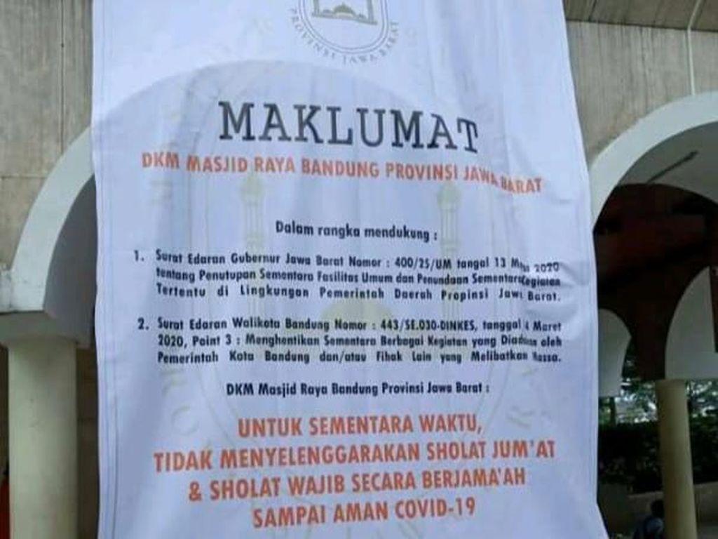 Tekan Corona, Masjid Raya Bandung Tak Gelar Salat Jumat
