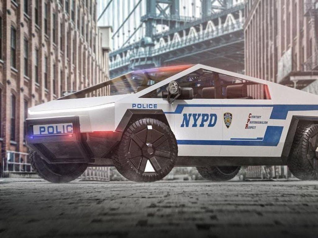 Ketika Tesla Cybertruck Menjelma Mobil Polisi sampai Kurir Pizza