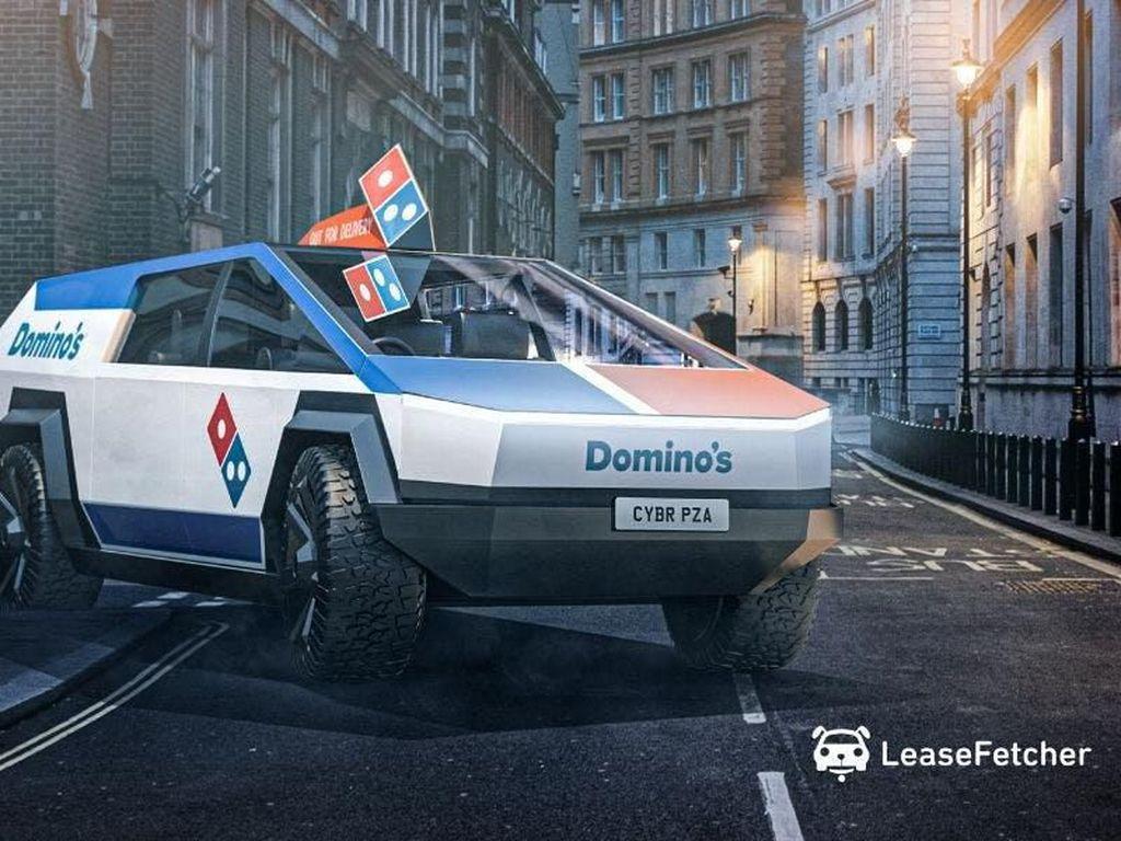 Penampakan Tesla Cycbertruck Disulap Jadi Mobil Pengantar Pizza