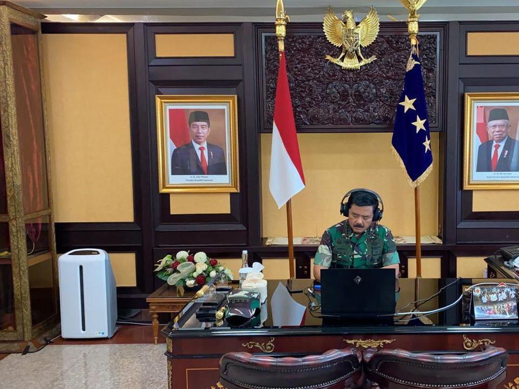 Tangkal Corona, Panglima TNI Ratas via Teleconference Bareng Kabinet
