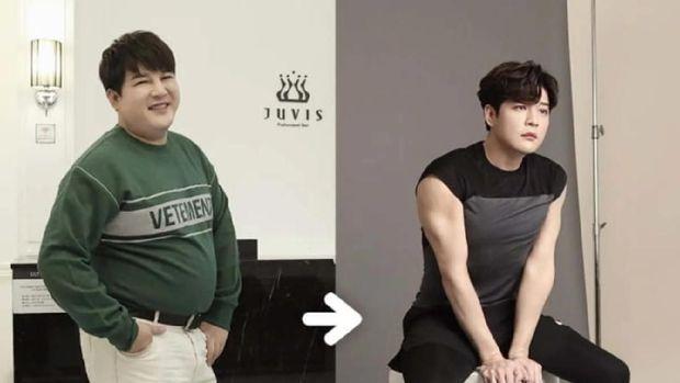 Otot lengan Shindong Super Junior setelah berhasil diet.